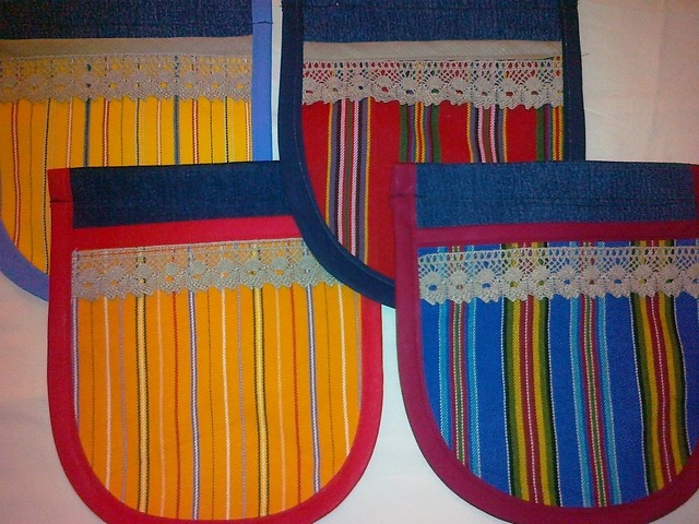 Folklore style pockets with materials from recycled jeans.  @http://www.facebook.com/Kansanomaisetkankaat