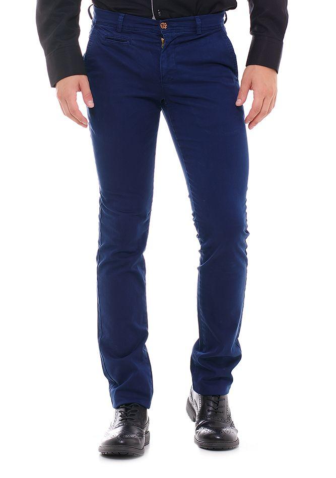 Ανδρικό μπλε Chino Παντελόνι. Υφασμάτινο παντελόνι με τσέπες ... 6b208f3a51e
