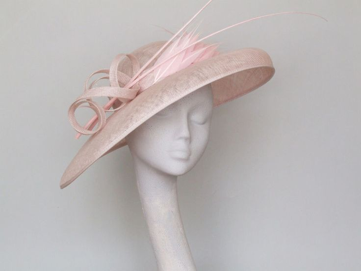 Wide Brim Pale Pink Fascinator  Ascot Hat by CoggMillinery on Etsy https://www.etsy.com/listing/279378408/wide-brim-pale-pink-fascinator-ascot-hat