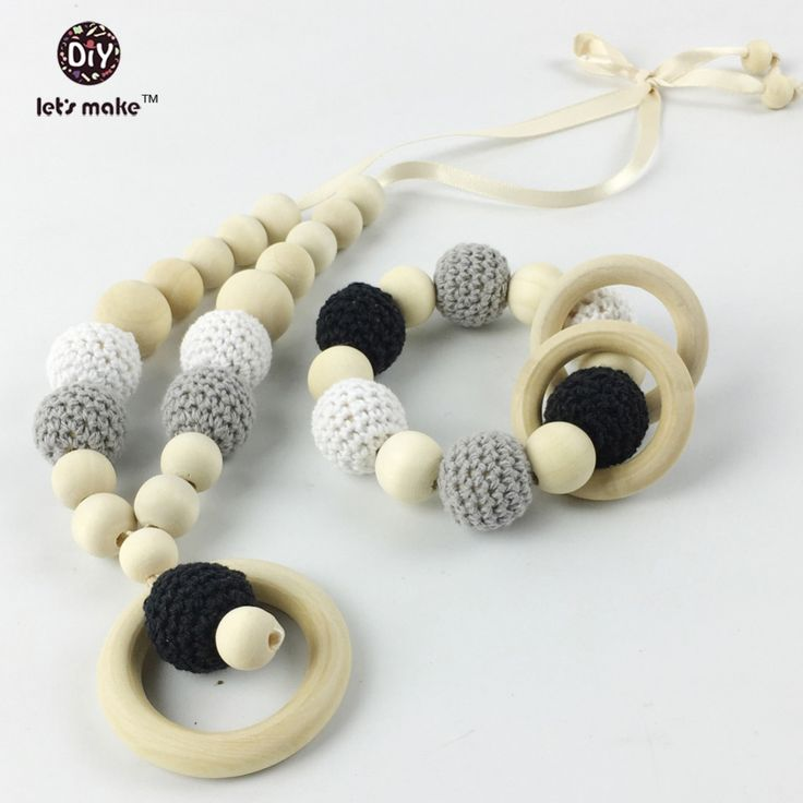 2pc/lot teether juniper nursing pendant Nursing Crochet Teething Breastfeeding necklace -Gift For Babywearing Moms Teething toy