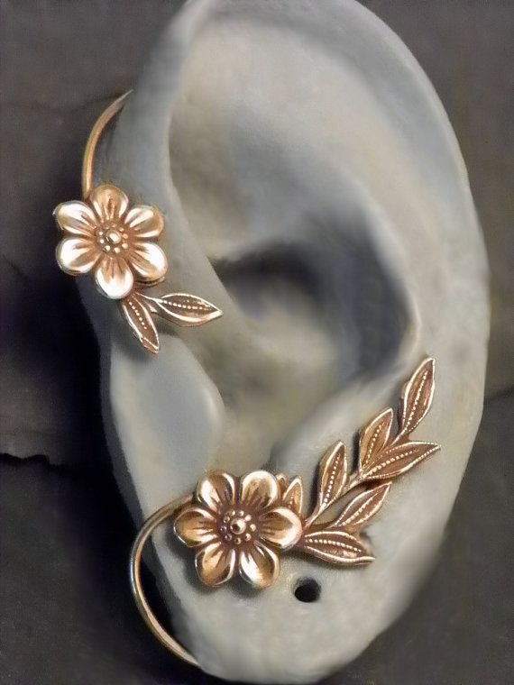 Flower and Leaf Ear Wrap GOLDEN GARDEN by SunnySkiesStudio, $38.95