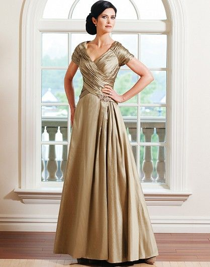 Chiffon A Line Sleeves V Neck Mother Of The Bride Dress