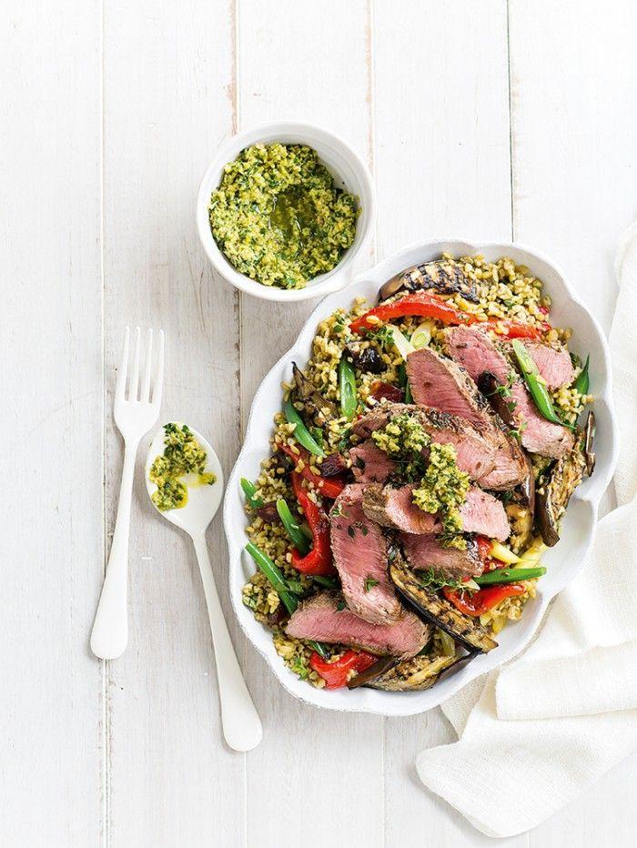 Lamb, Eggplant & Freekeh Salad with Olive & Lemon Salsa | In Season: Summer | MiNDFOOD