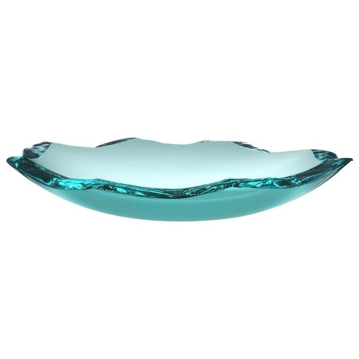 Broken Bowl, Slumped Float Glass Bowl with Hammer Chipped and Polished Edge | From a unique collection of antique and modern bowls and baskets at https://www.1stdibs.com/furniture/decorative-objects/bowls-baskets/