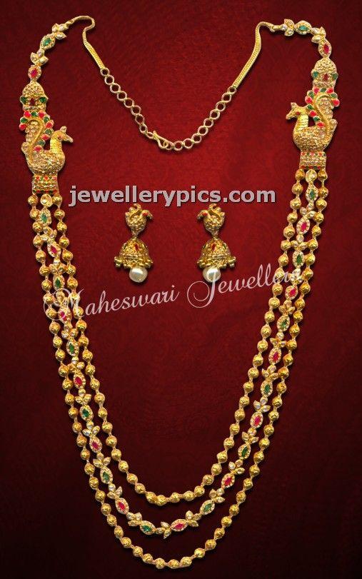 Chandra haram custom made with uncut peacock design - Latest Jewellery Designs