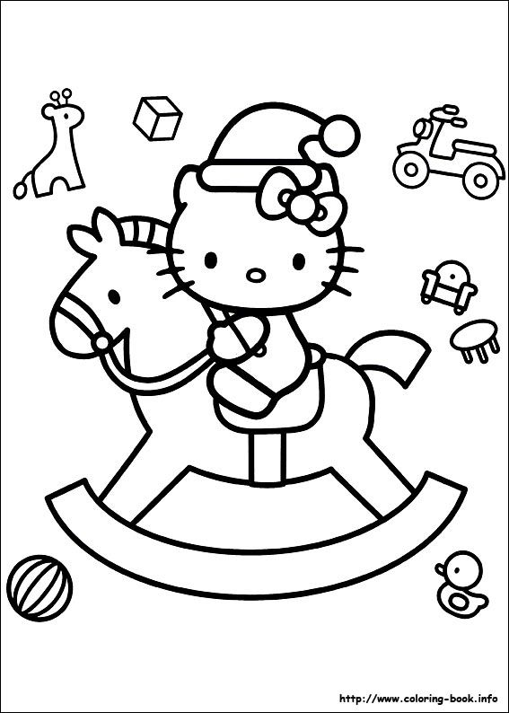 Hello Kitty Rocking Horse Coloring Page