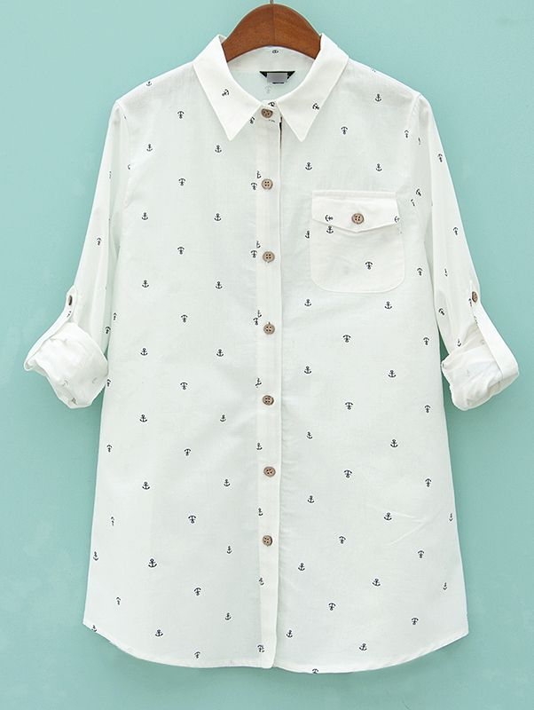 Beige Lapel Long Sleeve Anchors Print Pocket Blouse - Sheinside.com