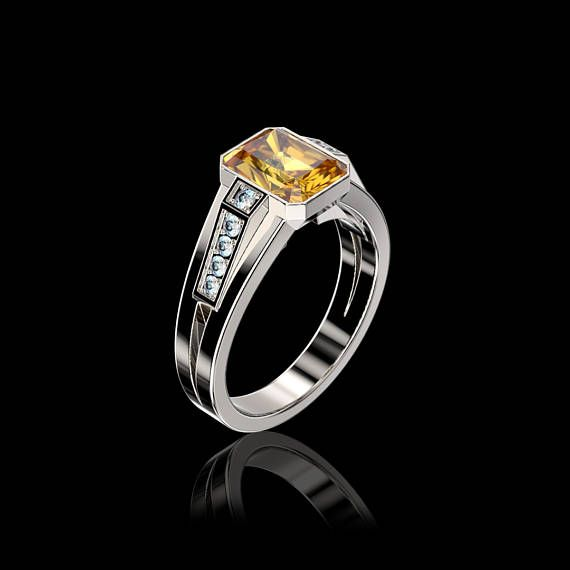NEW X COLLECTION 14K White Gold Yellow Sapphire Diamond Modern