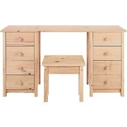 Scandinavia 8 Drawer Dressing Table With Stool - Pine.