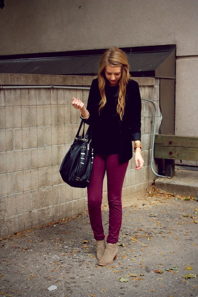 black jacket, deep maroon jeans and tan boots!
