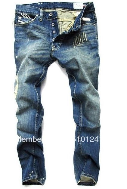 International Famous Brand Top Quality Men's Designer Jeans Button Fly Cotton Denim Blue Pants Ripped Jeans for Men Brand 8776 US $33.89