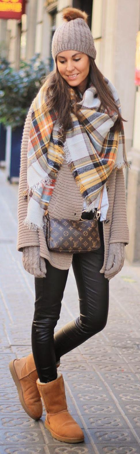 Orange Multi Plaid Scarf by BCN Fashionista
