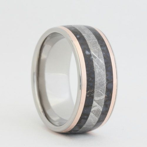 Dinosaur Bone Ring, Gibeon Meteorite Ring, Two 14K Rose Gold Pinstripes