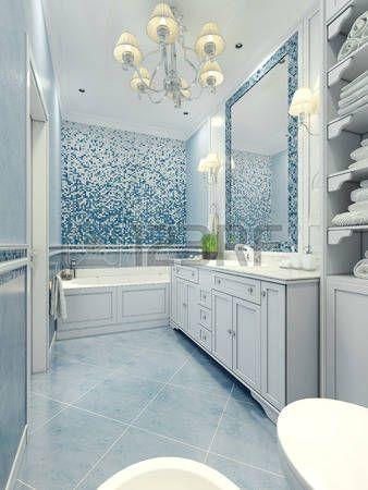 Bagno stile art deco. bagno lungo con un mix di piastrelle e di luce intonaco di colore blu. parete a mosaico e specchio cornice. rendering 3D. Archivio Fotografico - 46194654