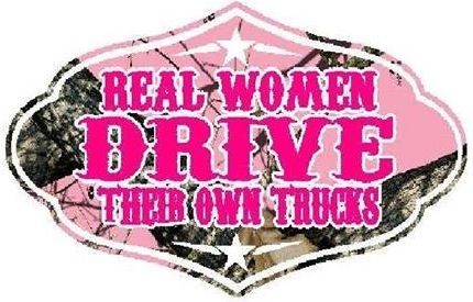 """Pink Camo """"Real Women Drive Their Own Trucks"""" Vinyl Decal are suitable for rear window or any smooth surface, Available in 5 sizes; from $29.99 to $149.99 therustcishopdeptu.com"""