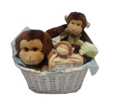69 best baby gift baskets images on pinterest newborns baby monkey baby gift basket with name is a wonderful gender neutral baby gift negle Image collections
