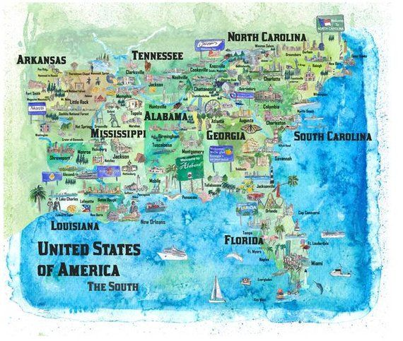 Usa Southern States Travel Poster Map Florida Louisiana