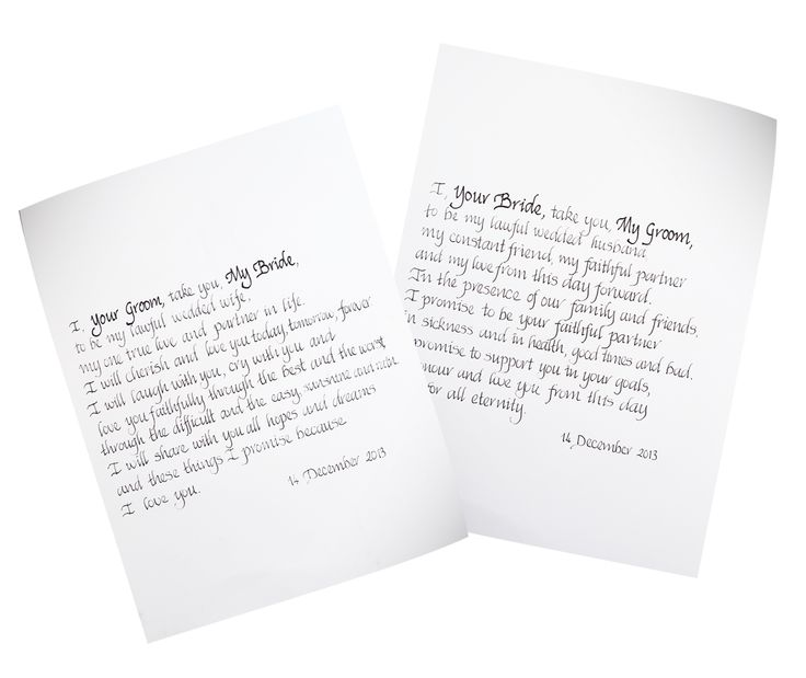 Having your marriage vows hand-written in calligraphy makes a romantic gift on your first anniversary.
