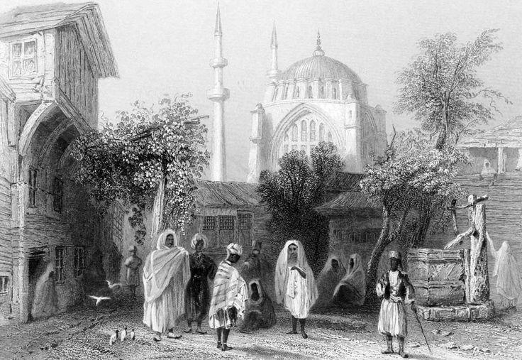 """İstanbul Nuruosmaniye'de Köle Pazarı Gravür. William Henry Bartlett tarafından çizilmiş, Miss Julia Pardoe'nin 1838 yılında Londra'da basılan """"The Beauties of the Bosphorus"""" adlı meşhur seyahatnamesi nde yer almış orjinal çelikbaskı gravür. Bu seyahatname Osmanlı gündelik yaşamı ve İstanbul güzelliklerini anlatmakta olup 19. yüzyıl Avrupası'nın en çok ilgi çeken kitaplarından biri olmuştur."""