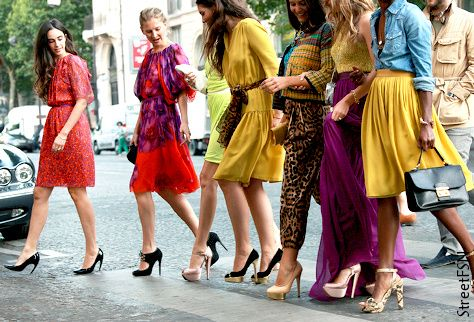 Street Haute Couture  I love big, bold splashes of colour...  Love that dresses are coming back in style too