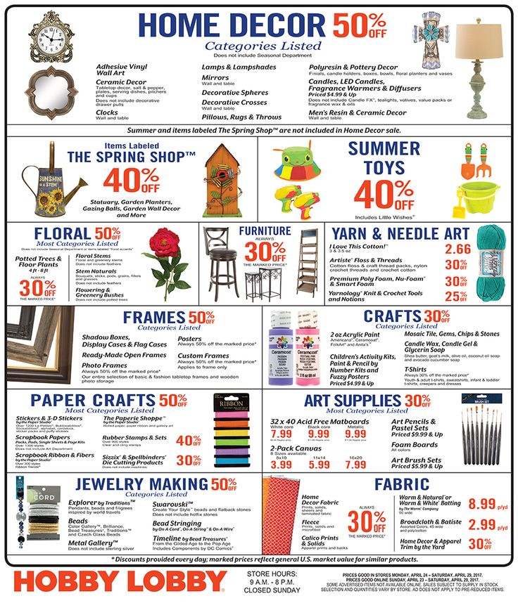 Hobby Lobby Weekly Ad April 23 - 29, 2017 - http://www.olcatalog.com/grocery/hobby-lobby-weekly-ad.html