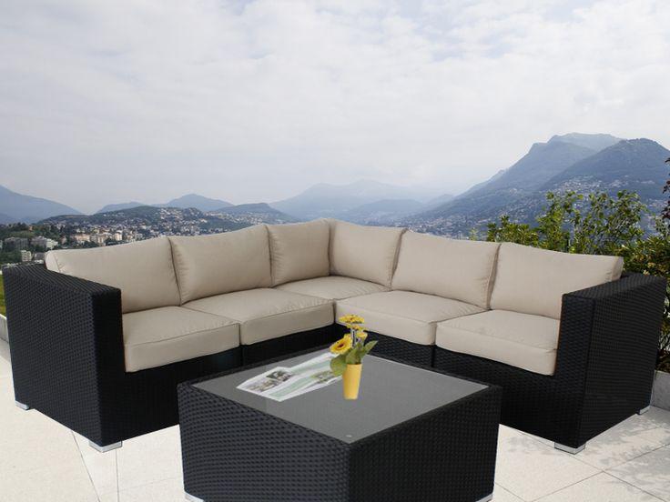 Black Ellana Outdoor Corner Lounge Suite