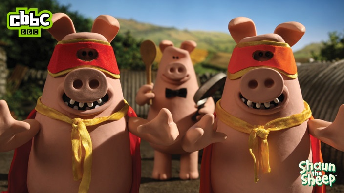 The naughty pigs from Shaun the Sheep