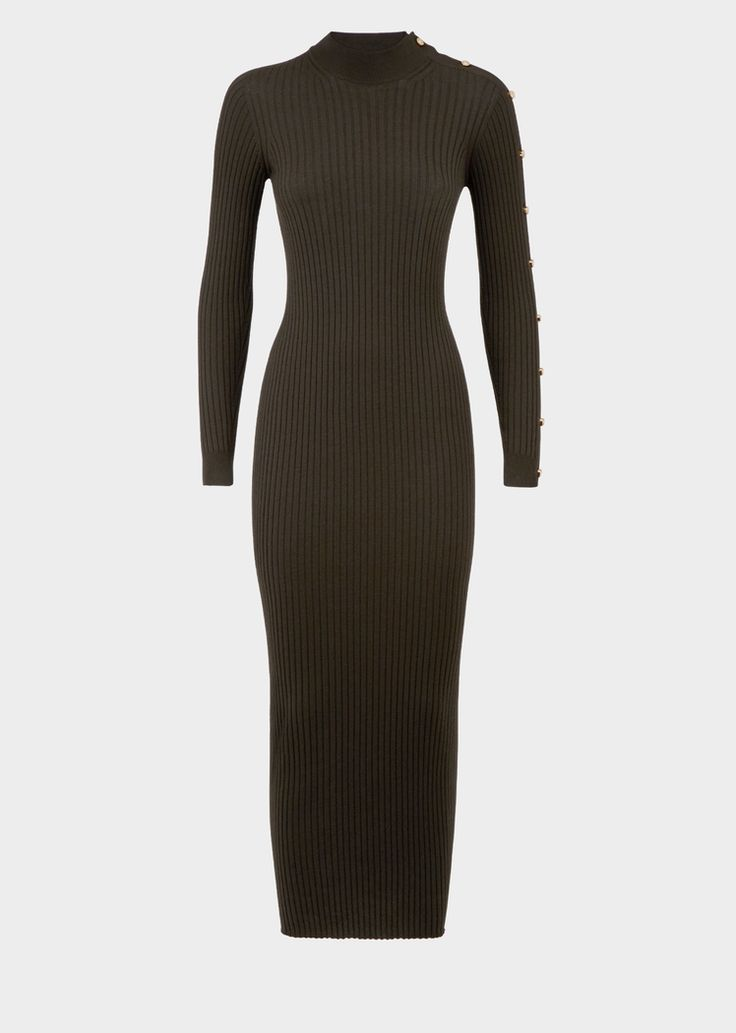 Versace Bodycon Medusa Stud Sweater Dress for Women | Official Website. Long sleeve, knit bodycon dress with small Medusa stud accents on one sleeve. This long length dress is both versatile and elegant - an autumn/winter essential that marks the silhouette