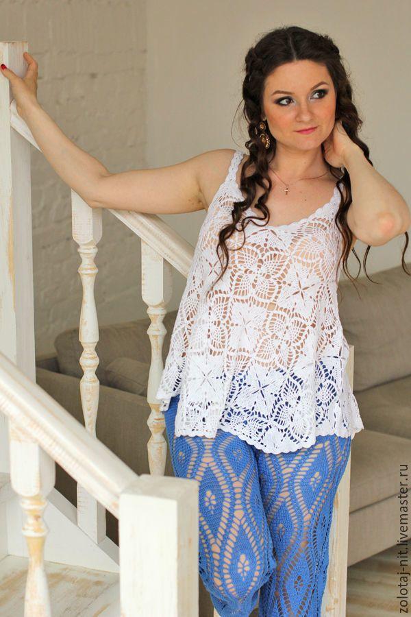 Купить Туника вязаная Лето - цветочный, белый, летняя мода 2017, туника пляжная