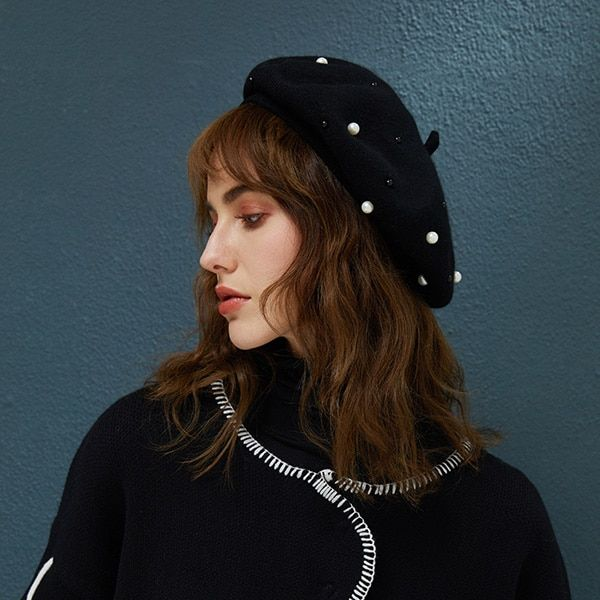 New Women Girls Knitted Crystal Woolen Cloche Hat and Scarf Set Warm Winter