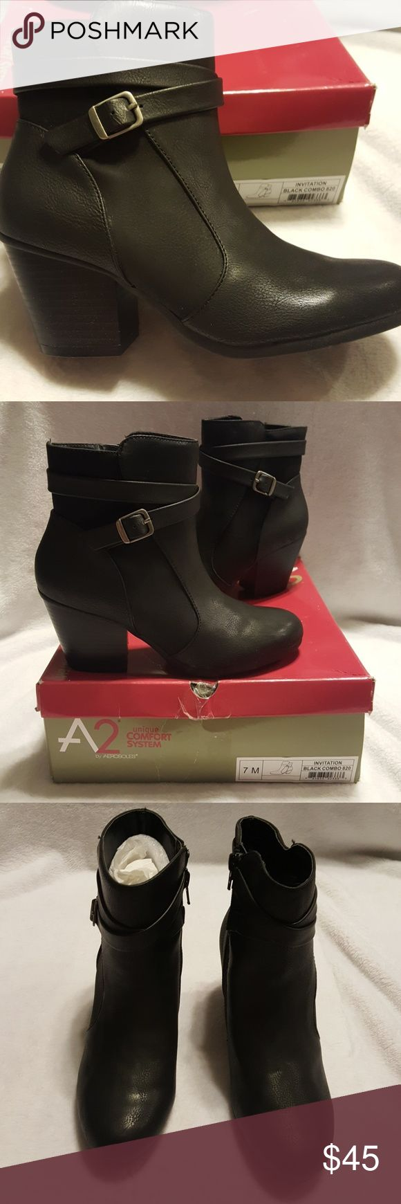 A2 Aerosoles 7M invitation black combo 820 NWT 3 inch heel,  very stylish with silver buckle. AEROSOLES Shoes Ankle Boots & Booties
