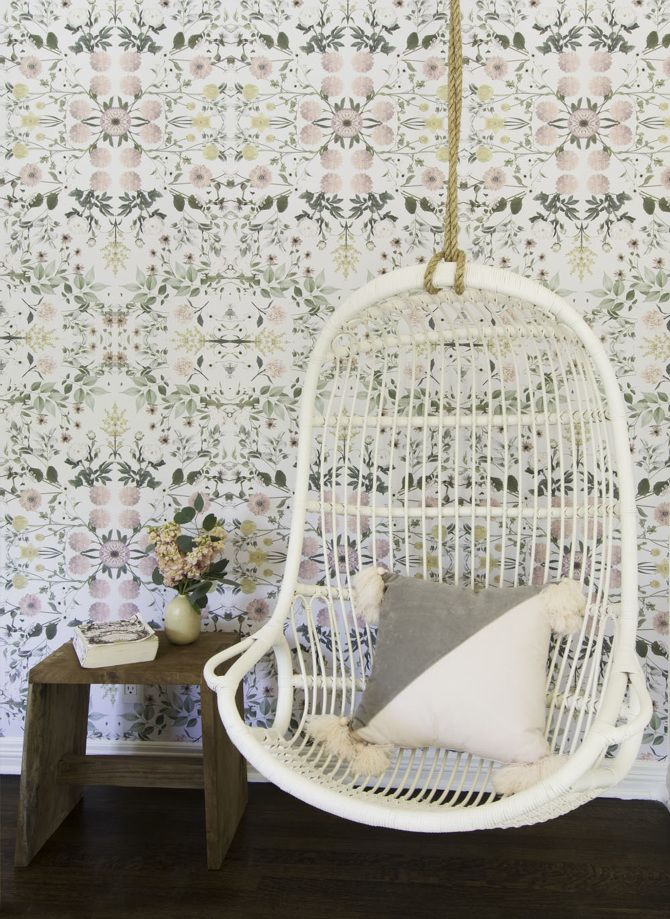 The perfect floral wallpaper for a dreamy little girl's room, equipped with a hanging swing chair. RESIDENTIAL - CHISELHURST AVE - Amy Sklar Design Inc.