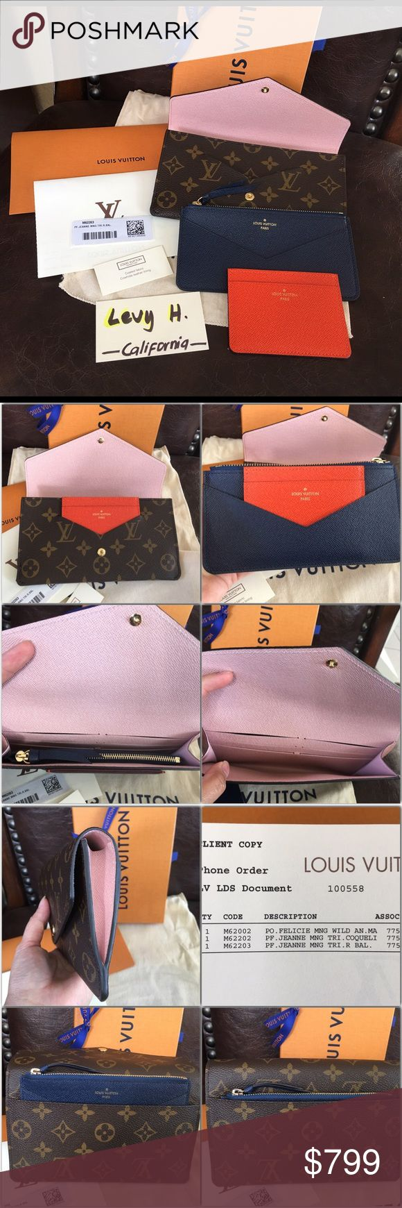 Authentic Louis Vuitton Jeanne Wallet Brand new never use wallet in rose ballerine interior, blue coin pouch and orange credit card holder. Smart and practical, the Jeanne Wallet in Monogram canvas offers endless possibilities. This envelop wallet in Monogram canvas is both ultra feminine and highly adaptable thanks to its three-in-one construction with removable card holder and coin pocket. Price is firm and no trade. Louis Vuitton Bags Wallets