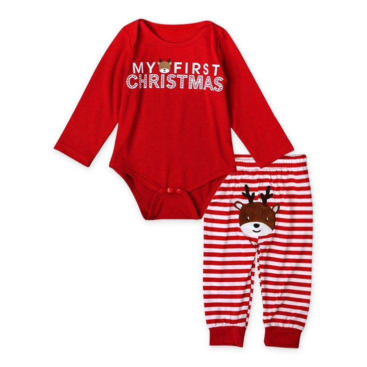 >> Click to Buy << 2016 2pcs My First Christmas Newborn Baby Girls Boys Long Sleeve Romper + Striped Pants Cartoon Baby Sets Cotton Clothing 22 #Affiliate