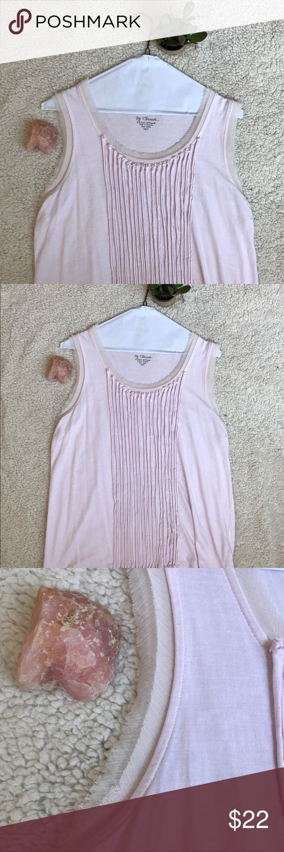 Chicos Large Pink tank top fringe women's Chicos Large pink tank top, fringe, flowy, summer, stylish, baby pink, •All items bought come with a gift🌸💕 Chico's Tops Tank Tops