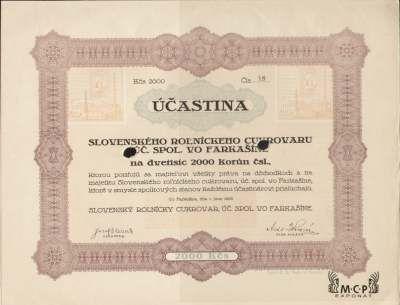 A1183 Muzeum cennych papiru / Slovenský roľnícky cukrovar, úč. spol. vo Farkašíne, Akcie 2 000 Kč Farkašín, 01.06.1926 / AZP3CZ167
