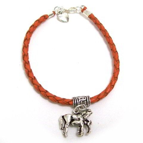 Braided Leather Horse Bracelet.