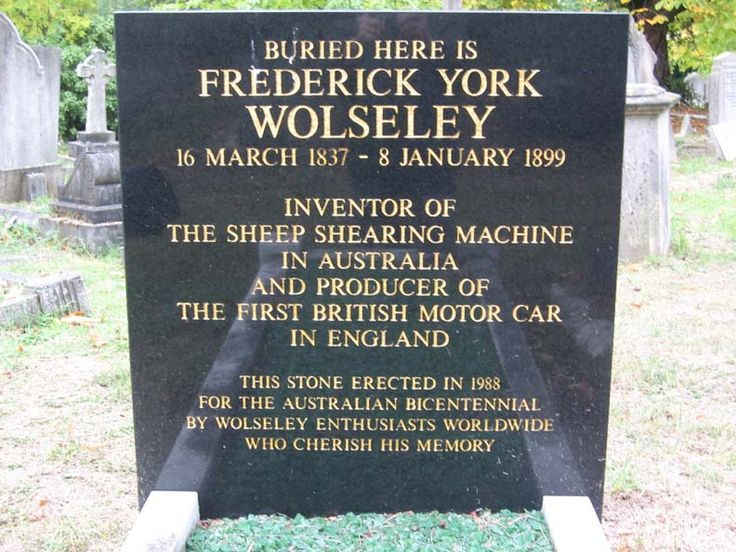 Frederick Wolsley - British Inventor. He invented a sheep shearing machine and was also a car designer.