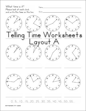Telling Time - Several Printable Clock and Clock Worksheets for Math (free)