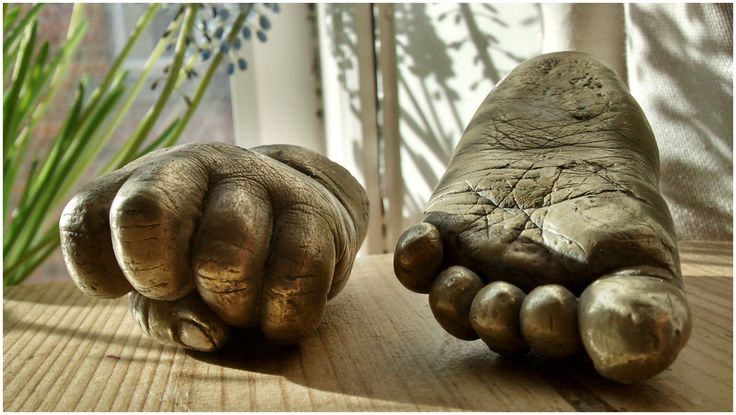 Copper baby foot and hand