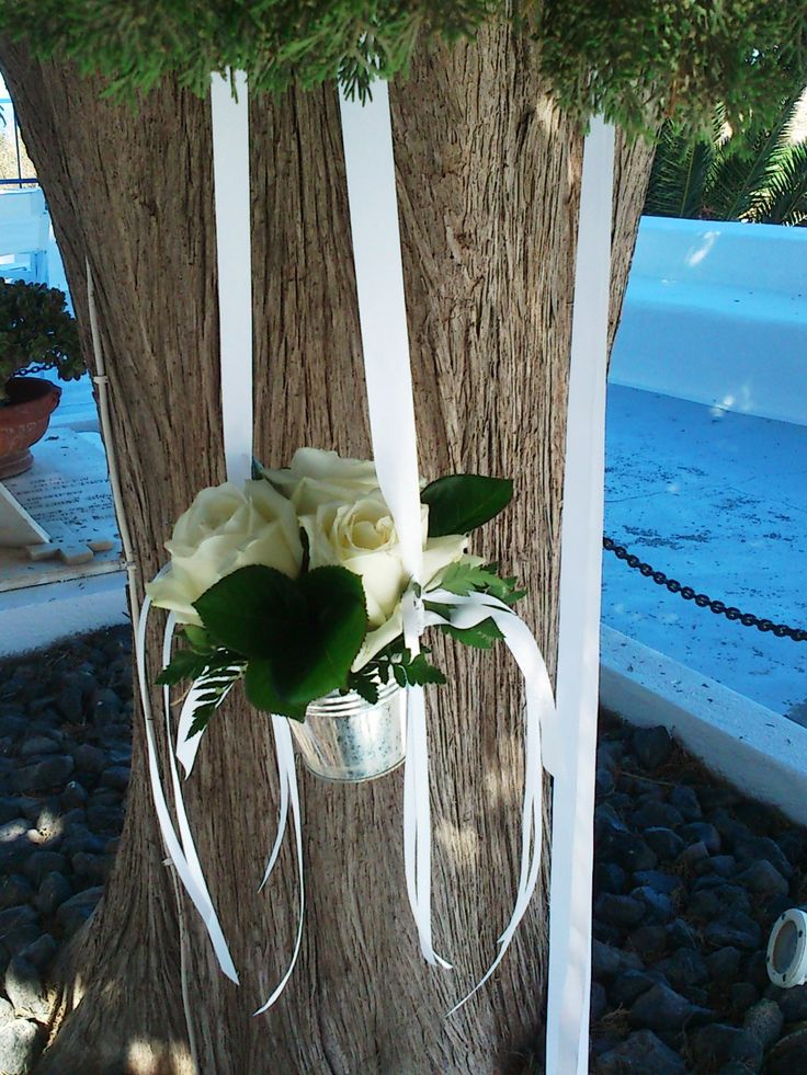 Tiny buckets with flowers, hanging from a tree!!!