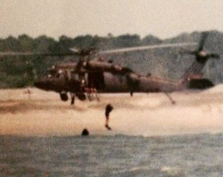 1995: Waterborne operations training at Camp Lejune. The 82nd Airborne Division's Long Range Surveillance Detachment Teams 5&6, working with the 2nd Marine Recon Battalion.  #throwbackthursday #helocast #army #lrsd #waterborne #blackhawks #scoutswimmer #marines #recon #veteran