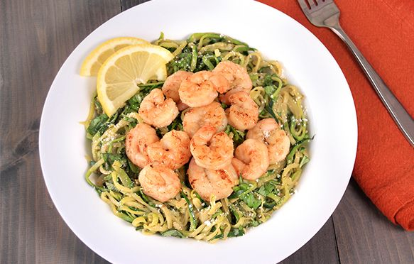 All-Natural, Protein-Packed Meals: Zucchini Spaghetti with Shrimp, Italian-Style Chicken Bake | Hungry Girl