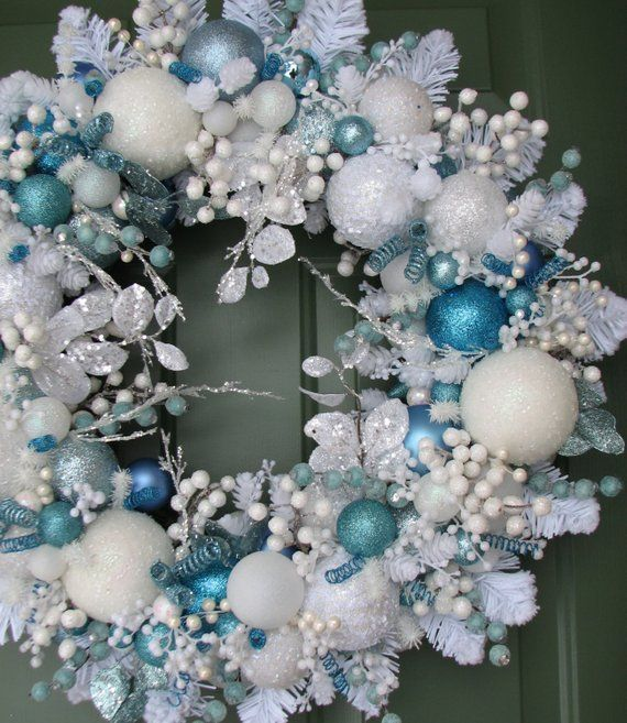 Light Blue And White Christmas Wreath Ornament Wreath Front Etsy Christmas Wreaths White Christmas Wreath Christmas Decorations Wreaths