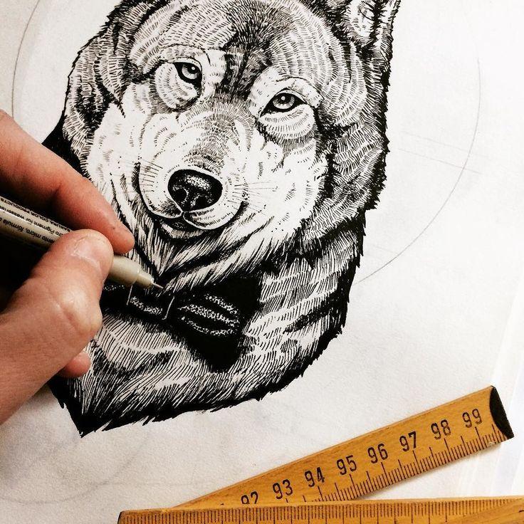 Making off  @jose_pleguezuelos  #illustration #oldprojects #wolf #handdrawn