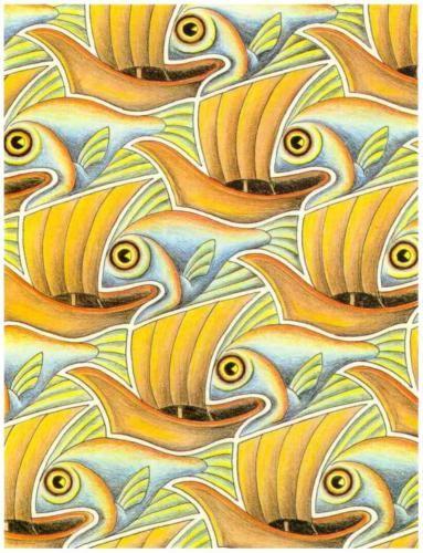 Fish & Boat - M.C. Escher, WikiPaintings.org #M_C_Escher #Tessellation #WikiPaintings