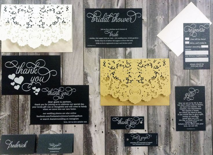 Traditional Lace laser cut invitation wallet in white or gold shimmer with invitations & matching stationery white ink printed on Cocktail Hour black shimmer card