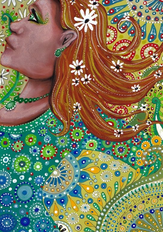 """Saatchi Online Artist: Cherie Roe Dirksen; Paint, 2013, Mixed Media """"Ginger Goddess"""" $100"""