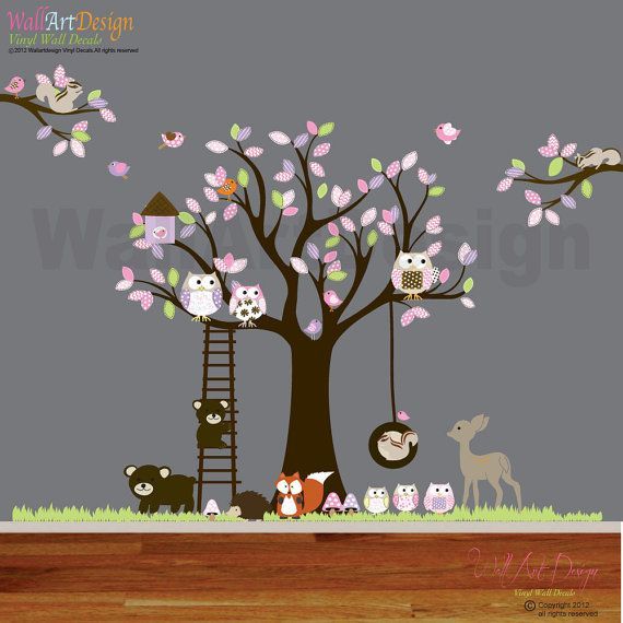 Vinyle autocollant sticker swing arbre with,owls,birds,deer,bear,fox.woodland set animaux pépinière décalque de mur
