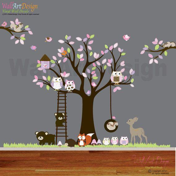 Vinyle autocollant sticker swing arbre with,owls,birds,deer,bear,fox.woodland set animaux pépinière décalque de mur
